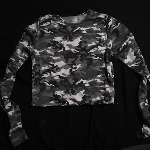 Black & White Camo Mesh Long Sleeve Top